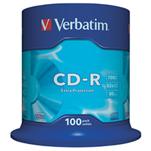 Verbatim 52x CD-R (paquet de 100) 40,00 €